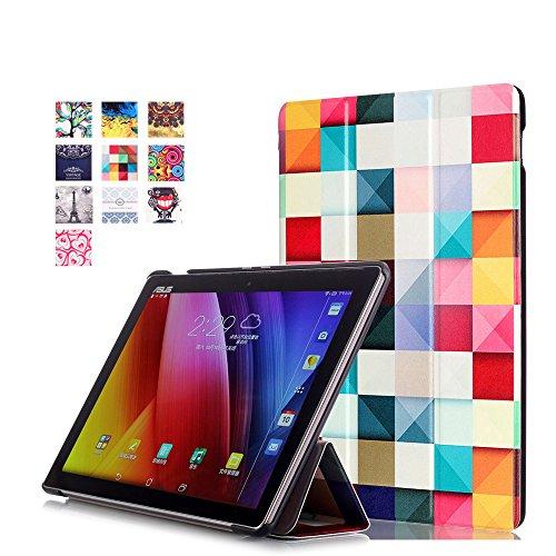 ASUS ZenPad 10 Hülle, Ultra Dünn Leder Schutzhülle mit Auto Aufwachen/Schlaf Funktion für ASUS Zenpad 10 Z301MFL / Z2301ML / Z300M / Z300C / Z300CG / Z300CL Tablet, Bunte Würfel