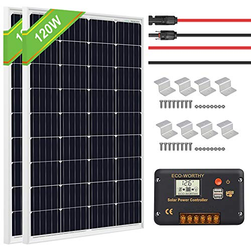 ECO-WORTHY 240 Watt 12V Solar Panel Kit: 2pcs 120W Mono Solar Panels with 20A LCD Charge Controller for RV, Boat, Off Grid 12V/24V Battery Systems