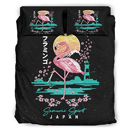 Ropa de cama de estilo japonés, estilo Fla-mingo Sa-murai, supersuave, transpirable, sábana blanca de Halloween, 240 x 264 cm