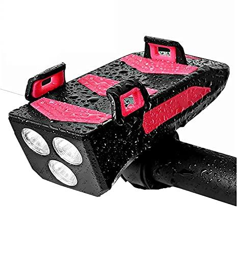 Fahrradlicht-Handyhalterung, 4-in-1 Fahrrad-Handyhalterung, LED-Fahrradscheinwerfer, USB-Ladegerät mit Hupe, wasserdicht für 3.9-6,4 Zoll Smartphone