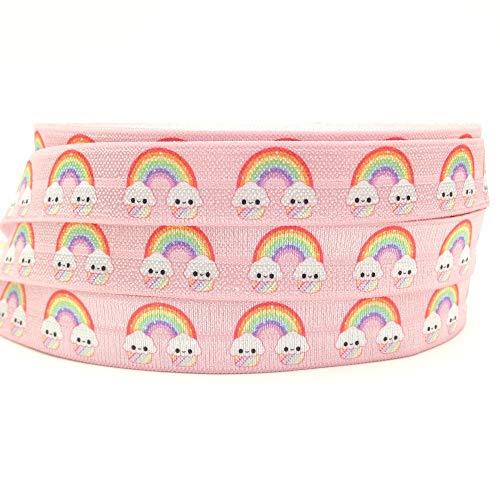 Fold Over Elastic Printed for Hair Ties 5/8 FOE DIY 10 Yard Roll (Pink Rainbow)