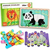 LiKee Animals Wooden Jigsaw Puzzles Pattern Blocks Sorting and Stacking Toys Peg Puzzle Preschool Montessori Educational Toys for Toddlers Kids Boys Girls Age 3+ Years Old (32 Pieces & 8 Patterns)