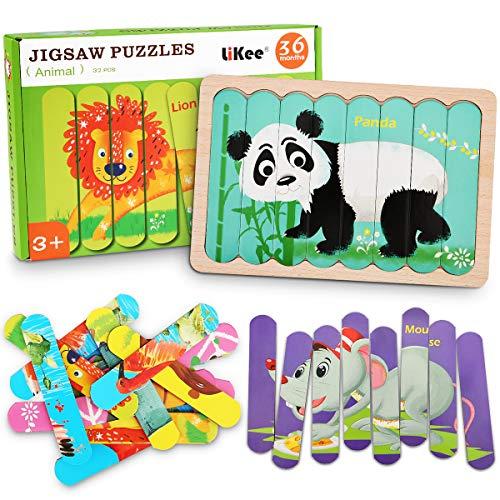 LiKee Animals Wooden Jigsaw Puzzles Pattern Blocks