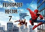 OBLEA de Spiderman Marvel Personalizada con Nombre y Edad para Pastel o Tarta, Especial para cumpleaños, Medida Rectangular de 28x20cm