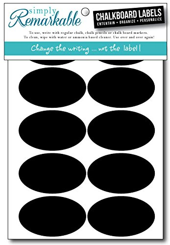 "Simply Remarkable Reusable Chalk Labels - 30 Oval Shape 2.5"" x 1.5"" Adhesive Chalkboard Stickers, Light Material with Removable Adhesive and Smooth Writing Surface. Can be Wiped Clean and Reused, For Organizing, Decorating, Crafts, Personalized Hostess Gifts, Wedding and Party Favors"