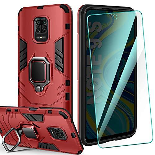 AROYI Carcasa Xiaomi Redmi Note 9S/9 Pro/9 Pro MAX Funda Silicona & Protector Pantalla Cristal Templado, Suave Armadura híbrida Robusta Caja para Funda Xiaomi Redmi Note 9S/9 Pro/9 Pro MAX - Rojo