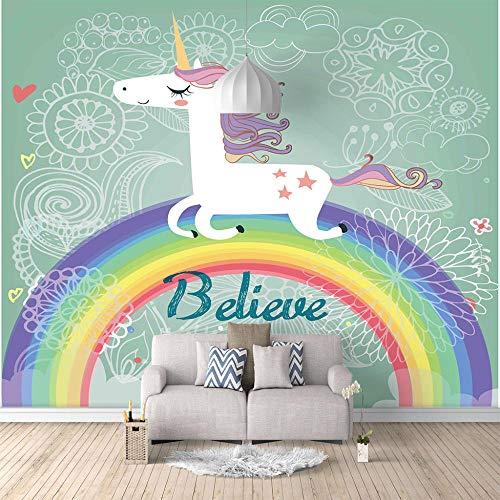 Fototapete Wandbild 400x280cm Regenbogen-Einhorn,Vlies Wand Tapete Wohnzimmer Schlafzimmer Büro Flur Kinderzimmer 3D Dekoration Wanddeko