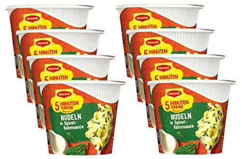 Maggi 5 Minuten Terrine Nudeln in Spinat-Rahm-Sauce, leckeres Fertiggericht, Instant-Bandnudeln, Eiernudeln mit Käse & Zwiebeln, 8er Pack (8 x 50g)
