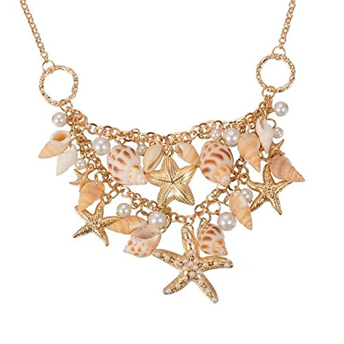 PH PandaHall Mermaid Shell Necklace Trendy Natural Shell Bib Beach Necklaces Starfish Conch Pendants with Iron Chains and Brass Lobster Claw Clasps Mermaid Costume Jewelry for Women, Golden, 19.6'