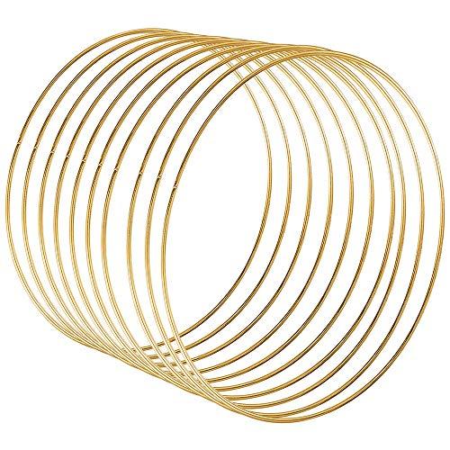 Sntieecr 10 Stück 25cm Gold Metallring Makramee Ringe Floral Hoops Ringe Kranz für Traumfänger, Floral Hoop Kranz Hochzeit Dekor und DIY Handwerk