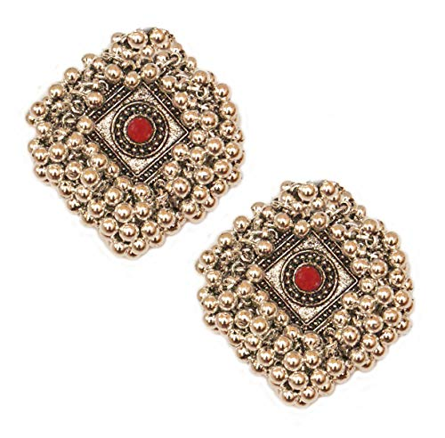 Pahal Ethnic Oxidized Red Kundan Cluster Pearl Big Silver Jhumka Earrings South Indian Bollywood Party Wear Jewelry for Women