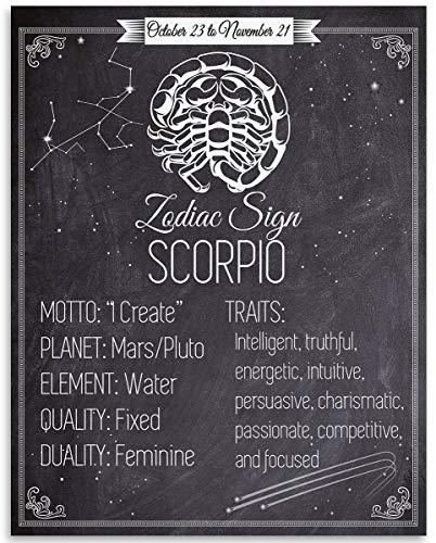 Ced454sy sterrenbeeld Schorpioen 11x14 Un Art Print maakt een geweldig cadeau hout teken cadeau voor Astrologie Enthousiastelingen