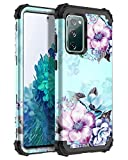 Casetego Compatible with Galaxy S20 FE 5G&4G Case,Floral Three Layer Heavy Duty Sturdy Shockproof Full Body Protective Cover Case for Samsung Galaxy S20 FE,Blue Flower.