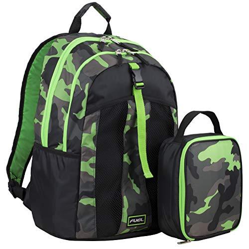 Fuel Backpack & Lunch Bag Bundle, Black/Green/Camo Print
