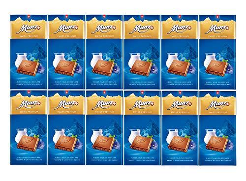 Munz Schokolade Milchschokolade | 12 Tafeln á 100g | Edle Schokolade | Swiss Premium Chocolate | Großpackung 1,2 kg Schokoladentafeln aus der Schweiz