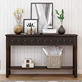 Console Table Rustic Entryway Table 60' Long Sofa Table with Four Drawers in Two Different Size Drawers and Bottom Shelf for Storage,Black Espresso
