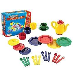 A child\'s colorful tea set.