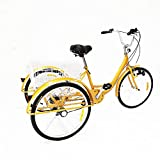 "BTdahong Yellow 24"" 3 Wheel Adult Tricycle Cruise Bike Alloy Frame with Shopping"