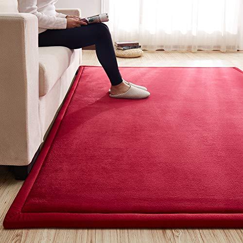 GHGMM Teppich Fußmatten, Haushalt dauerhaft rutschfest Baby Kriechende Matte, Passend für Wohnzimmer Teetisch Sofa Schlafzimmer Erker, anpassbar,red,140 * 200cm