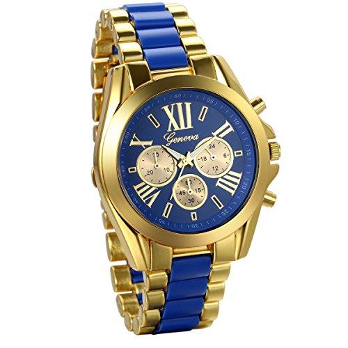 JewelryWe Herren Armbanduhr, Analog Quarz, Business Casual Edelstahl Armband Uhr mit Römischen Ziffern Zifferblatt, Gold Blau