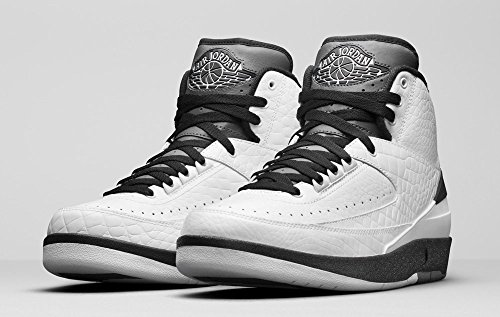 Nike Air Jordan 2 Retro, Scarpe da Basket Uomo, Bianco (Blanco (White/Black-Dark Grey), 45 EU