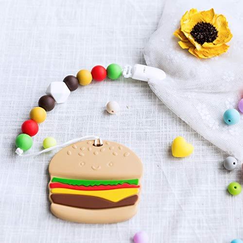 Promise Babe おもちゃホルダー シリコン ハンバーガー かわいい ブランケットホルダー スタイホルダー バッグホルダー 落下防止 紛失防止 おもちゃ 出産お祝い ギフト
