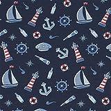Jersey Mick, Anker, Schiffe, maritim, dunkelblau (50cm x