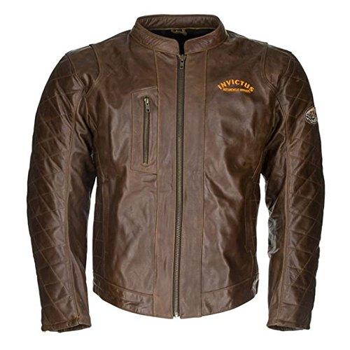 Invictus Moto Apparel Chaqueta de cuero marrón estilo vintage con protecciones Hector (L)