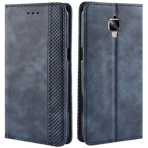 HualuBro Handyhülle für OnePlus 3T Hülle, OnePlus 3 Hülle, Retro Leder Brieftasche Tasche Schutzhülle Handytasche LederHülle Flip Case Cover für One Plus 3 / OnePlus 3T - Blau