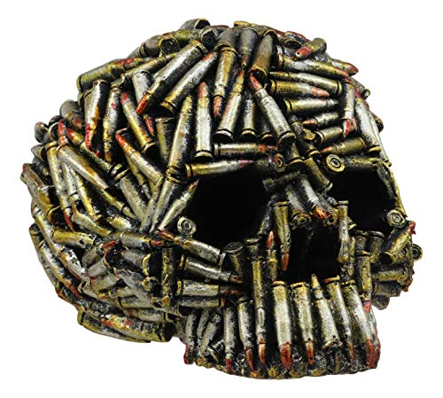 Ebros World War Ammo Bullet Shell Casings Skull Statue 6.5'Long Metalgear Hardcore Wardogs Skeleton Head Figurine for Halloween Day of The Dead Ossuary Macabre Collectible