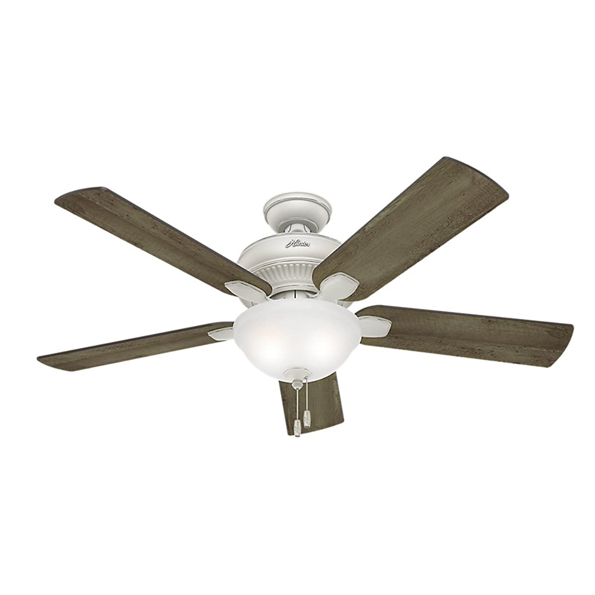 Hunter 54091 Matheston 52-Inch Cottage White Ceiling Fan with Five Gray Pine Blades and a Light Kit