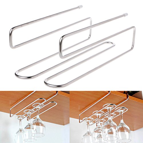 SimpleLife Wine Cup Rack Glass Cup Colgadores Rack Holder Under Cupboard Hanger Colgando Stemware Holder for Bar Kitchen-2 Rows