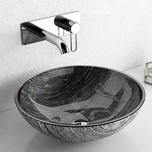 Glass Vessel Bathroom Sink Handmade Thick & Durable, Round Artistic Bathroom Sink Tempered Glass Vessel Sink, Above Counter Vanity Sink, in Titanium / Black & Silver