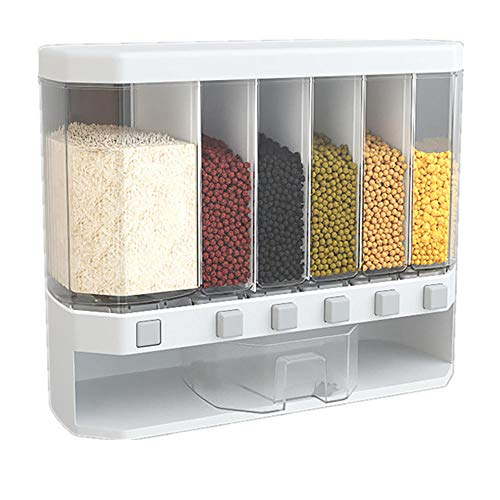 Recipiente de almacenamiento de alimentos sellado, dispensador de cereales para alimentos secos, blanco y transparente, ideal para cereales, dulces, snacks