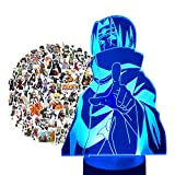 Anime Figure Itachi Night Light for Boys Bedroom, 7 Colors USB Charging 3D LED Illusion Desk Lamp & 100pcs Uzumaki Waterpoof Vinyl Stickers for Birthday Xmas Anime Fans Gifts