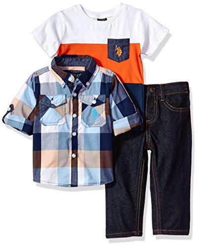 U.S. Polo Assn. Baby Boys' Sport Shirt, Creeper and Pant Set, 0697-Multi Plaid, 18M
