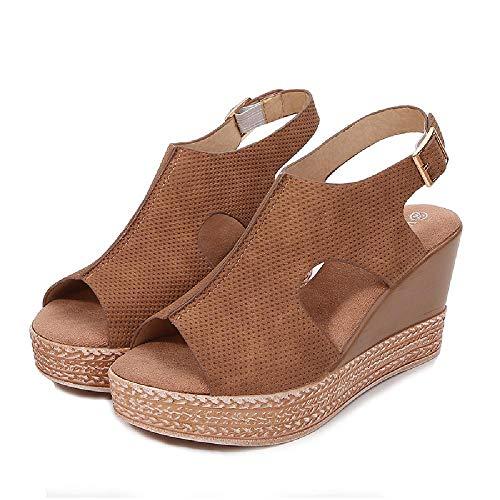 NOBRAND Sandalias 2020 Estilo Europeo y Americano Zapatos de Mujer de Fondo Grueso Verano Hueco Sandalias de tacón Alto con cuña