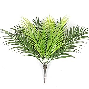PinnacleT1 Artificial Palm Leaves, 2 Pcs Fern Bouquet 9 Branches Plants Leaves Tropical Greenery Shrubs Simulation Silk Green Plants Fake Leaves for Indoor Outdoor Wedding Decor