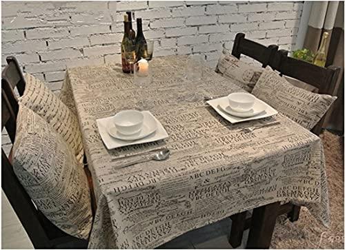 Aooaz Mantel, Mantel de Cocina Antimanchas Sabana de Algodon 140X140cm Beige Claro Letras