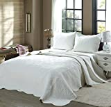 Cozy Line Home Fashions Victorian Medallion Solid White Matelasse Embossed 100% Cotton Bedding Quilt Set,Reversible Bedspread, Coverlet (Blantyre - White, Twin - 2 Piece)