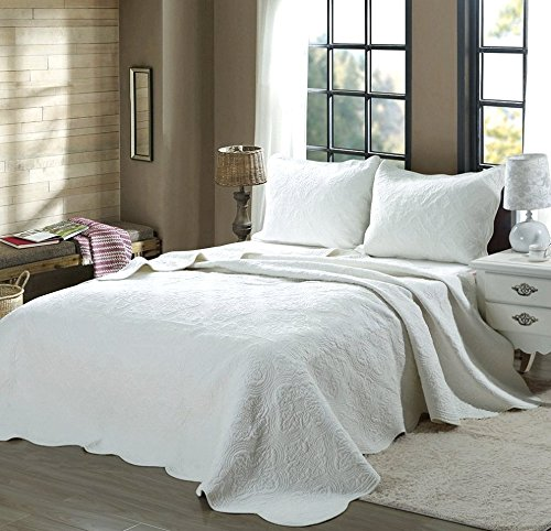 Cozy Line Home Fashions Victorian Medallion Solid White Embossed 100 % Cotton Bedding Quilt Set,Reversible Bedspread, Coverlet (Blantyre - White, King - 3 Piece)