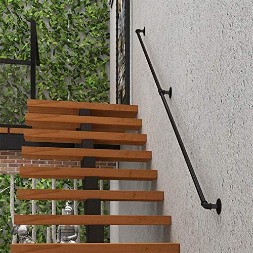 Handlauf-Set, 3 m - 6 m, schwarzes Eisenrohr, Treppengeländer, Geländer, Stützstange für drinnen und draußen, Korridor, Dachboden-Geländer, unterstützt 200 kg, 4,5 m