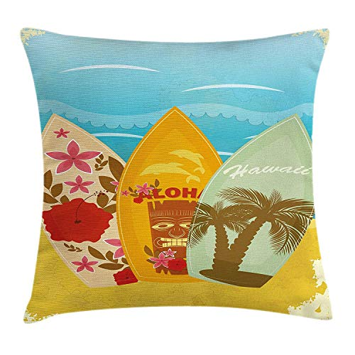 Butlerame Tiki Bar Decor Throw Pillow Cover, Hawaiian Beach Surfboards on Sand Exotic Summer Vacation Sport Vintage Style, 18 x 18 Pulgadas, Multicolor