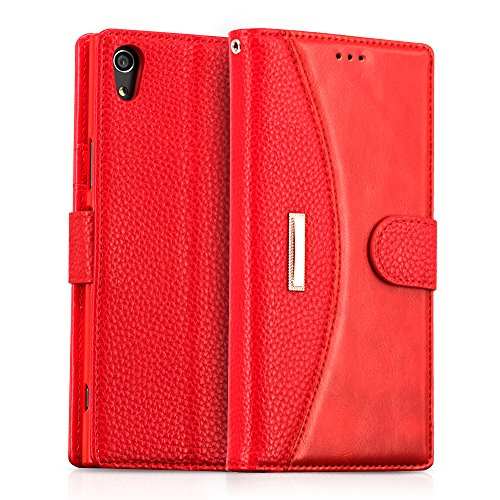 IDOOLS Leder Handyhülle für Sony Xperia XA1 Ultra, Handyhülle Handystand Kartenfächern Luxuriöse Aussehen Leder Flip Cover Brieftasche Etui Schutzhülle für Sony Xperia XA1 Ultra - Rot