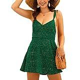 Primavera Y Verano Vestido Corto con Tirantes con Estampado De Lunares Y Cuello En V para Mujer