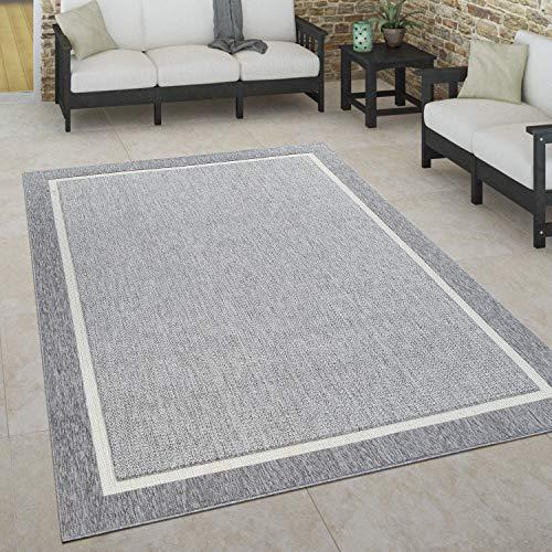 Paco Home In- & Outdoor Teppich, Terrasse u. Balkon, Wetterfest Skandinavischer Stil, Grösse:120x170 cm, Farbe:Grau 2