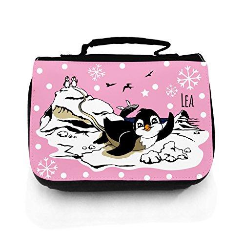 ilka parey wandtattoo-welt Waschtasche Waschbeutel Kulturbeutel Kosmetiktasche Reisewaschtasche cosmeticbag Pinguine Wal Vögel EIS Schnee Eisscholle mit Wunschname rosa wt049