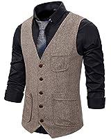 Atryone Men's Herringbone Vest Slim Fit Wool Tweed Suit Vest V-Neck Sleeveless Wedding Waistcoat(Brown, Small)