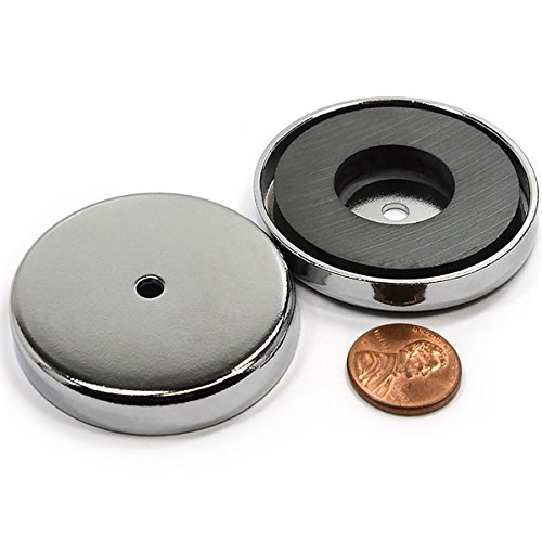 CMS magnetics Powerful Cup Magnets 100 LB Pull Power Mounting Magnets in Large 3.2' Diameter w/Countersunk Hole Pot Magnets RB80 3 Pieces