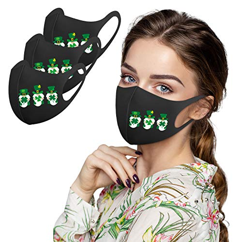 1/3/5 Día de San Patricio que cubre la cara bufanda usar muchas veces estampado de muñeca sin rostro verde para hombres y mujeres para viajes al aire libre